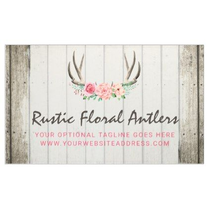 Rustic Floral Antlers Shabby Chic Roses Wood Banner