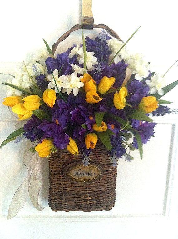 Iris Welcome Basket Wall Basket Purple Iris-Yellow Tulips-Spring Door Basket Easter Decor Mother\u0027s Day All Season Front Door Decor  sc 1 st  Pinterest & Iris Welcome Basket Wall Basket Purple Iris-Yellow Tulips-Spring ...