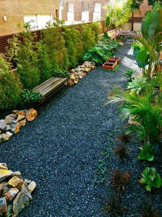 Garden Design Using Bamboo modernizar el bambú paisaje ideas bancos de jardín piedras