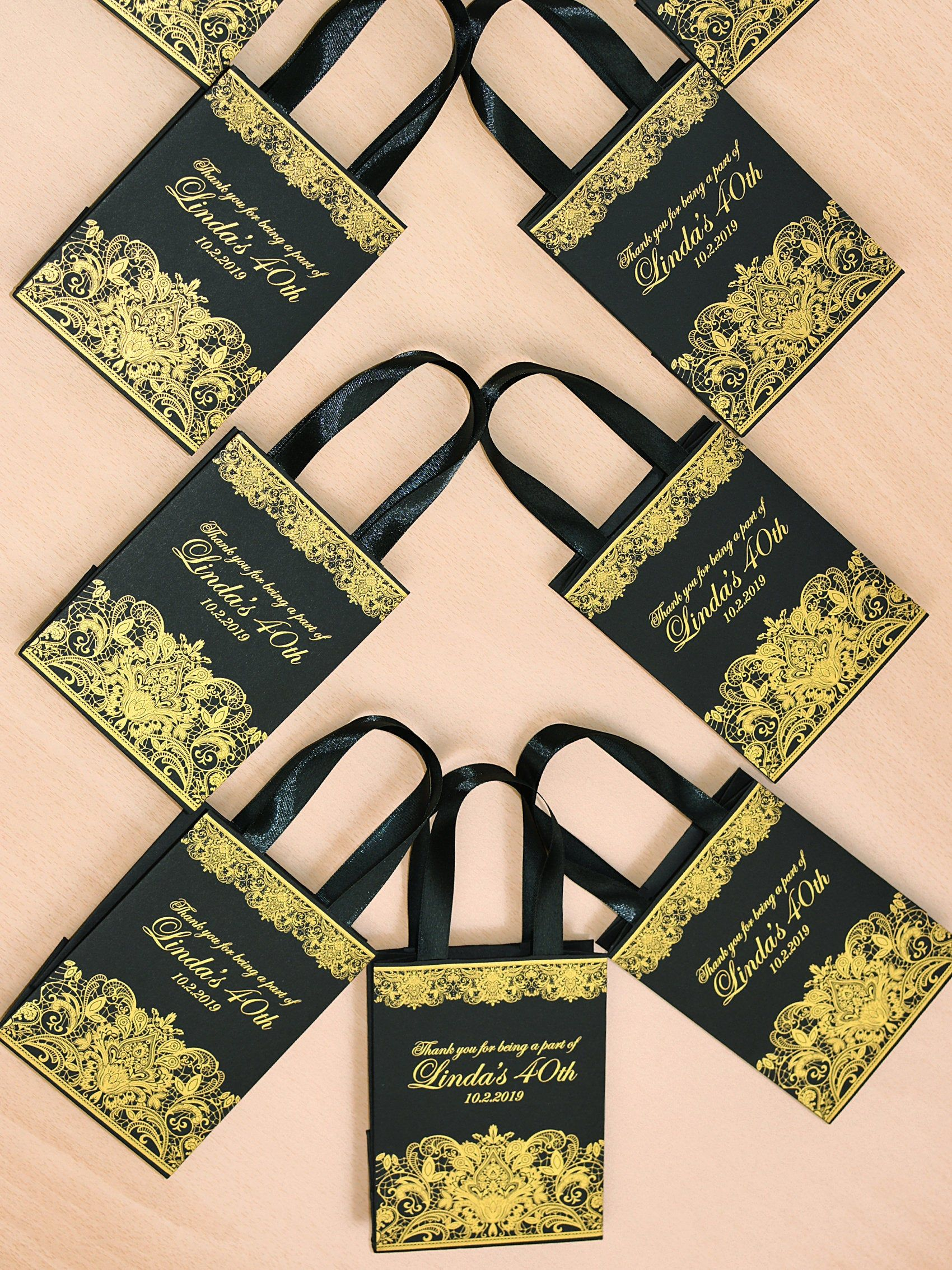 35 Black & Gold Birthday Party gift bags with satin ribbon
