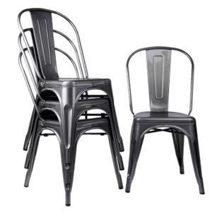 Lot De 4 Chaises De Salle A Manger Style Industriel En Metal Le