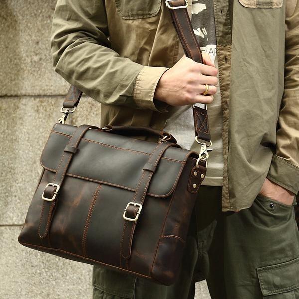 b7df28e33 ROCKCOW Crazy Horse Leather Briefcase Messenger Bag Laptop Bag For Men 8657
