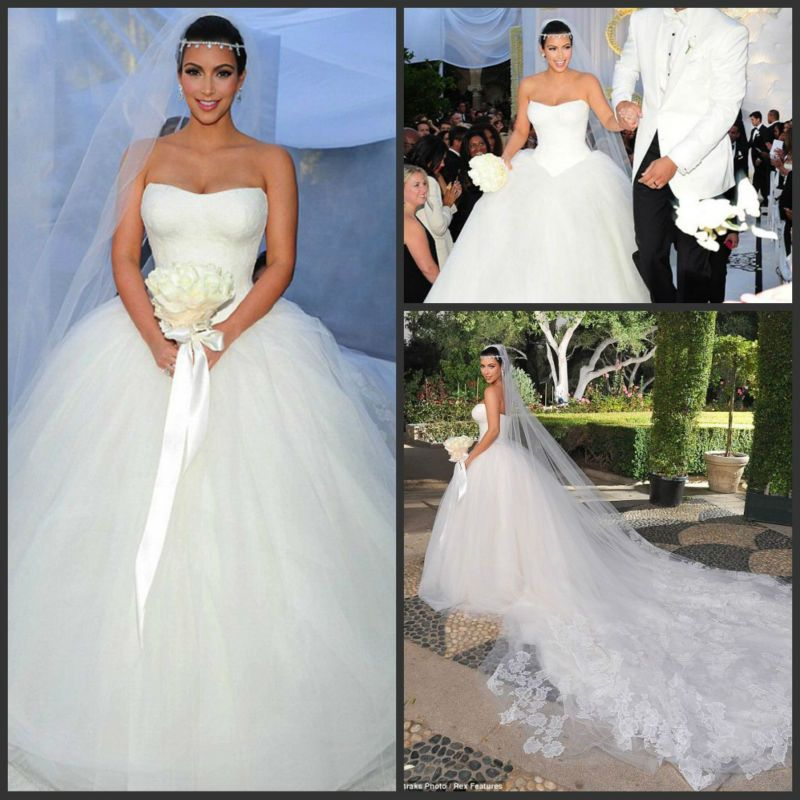 2014 New Design Luxury Lace Tulle Ball Gown Organza Kim Kardashian ...