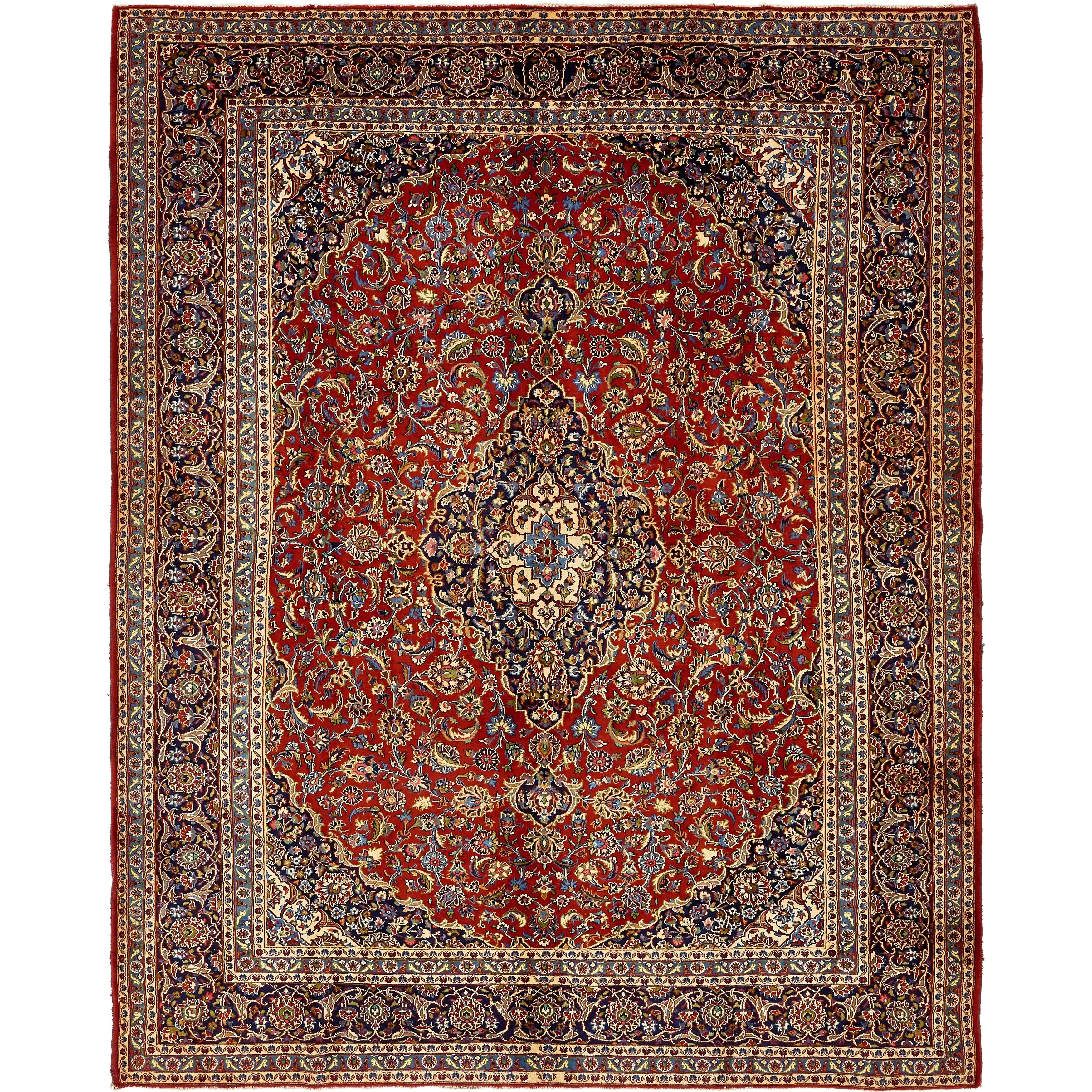 Refurbished Hand Knotted Kashan Semi Antique Wool Area Rug 10 X