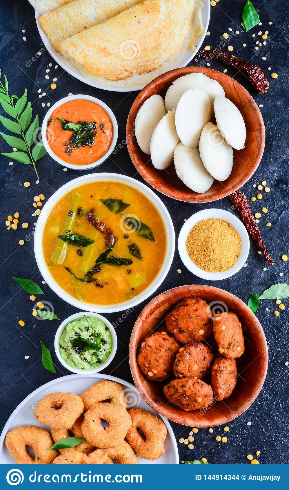 Photo About South Indian Food Platter With Idli Sambhar Vada Dosa