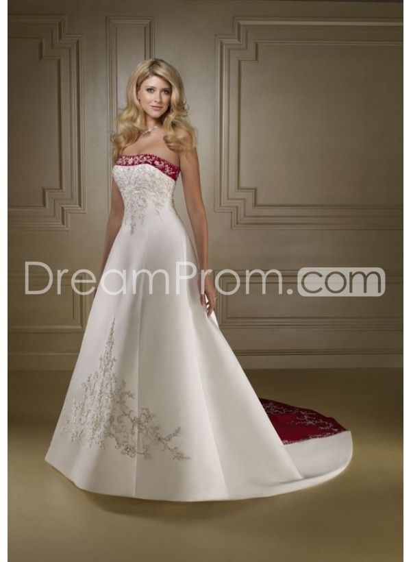 Satin Strapless Empire Bodice With A Line Skirt And Chapel Train ...