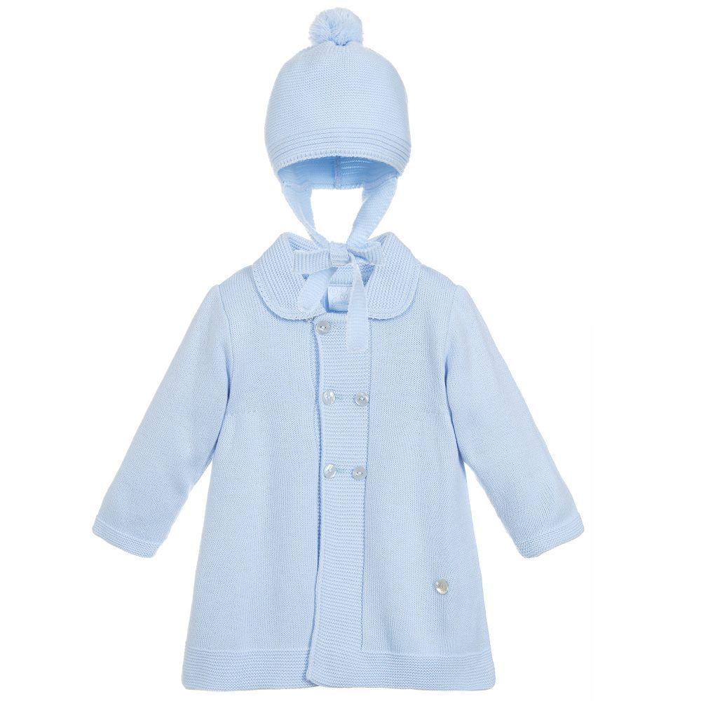 d621e0c25 Blue Knitted Coat   Hat Set
