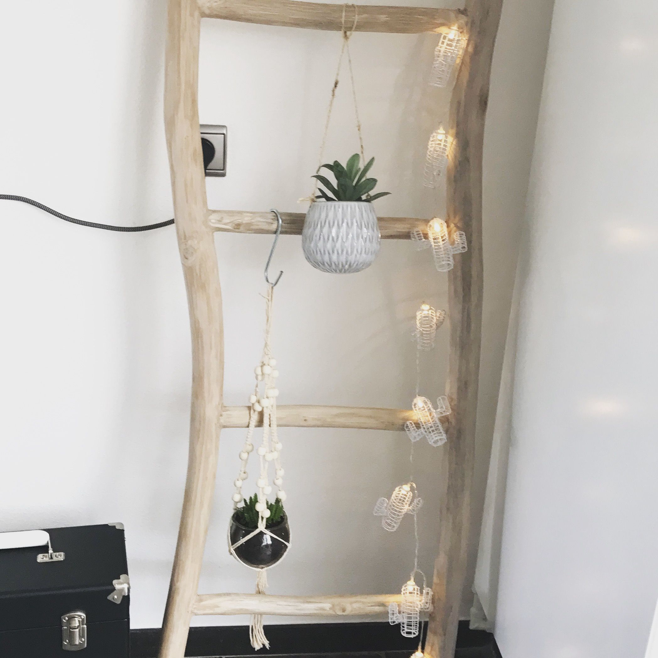 stunning teak houten ladder van xenos lampjes cactus