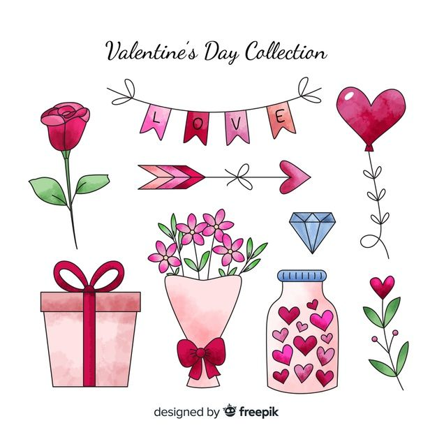Download Watercolor Valentine Elements Collection For Free