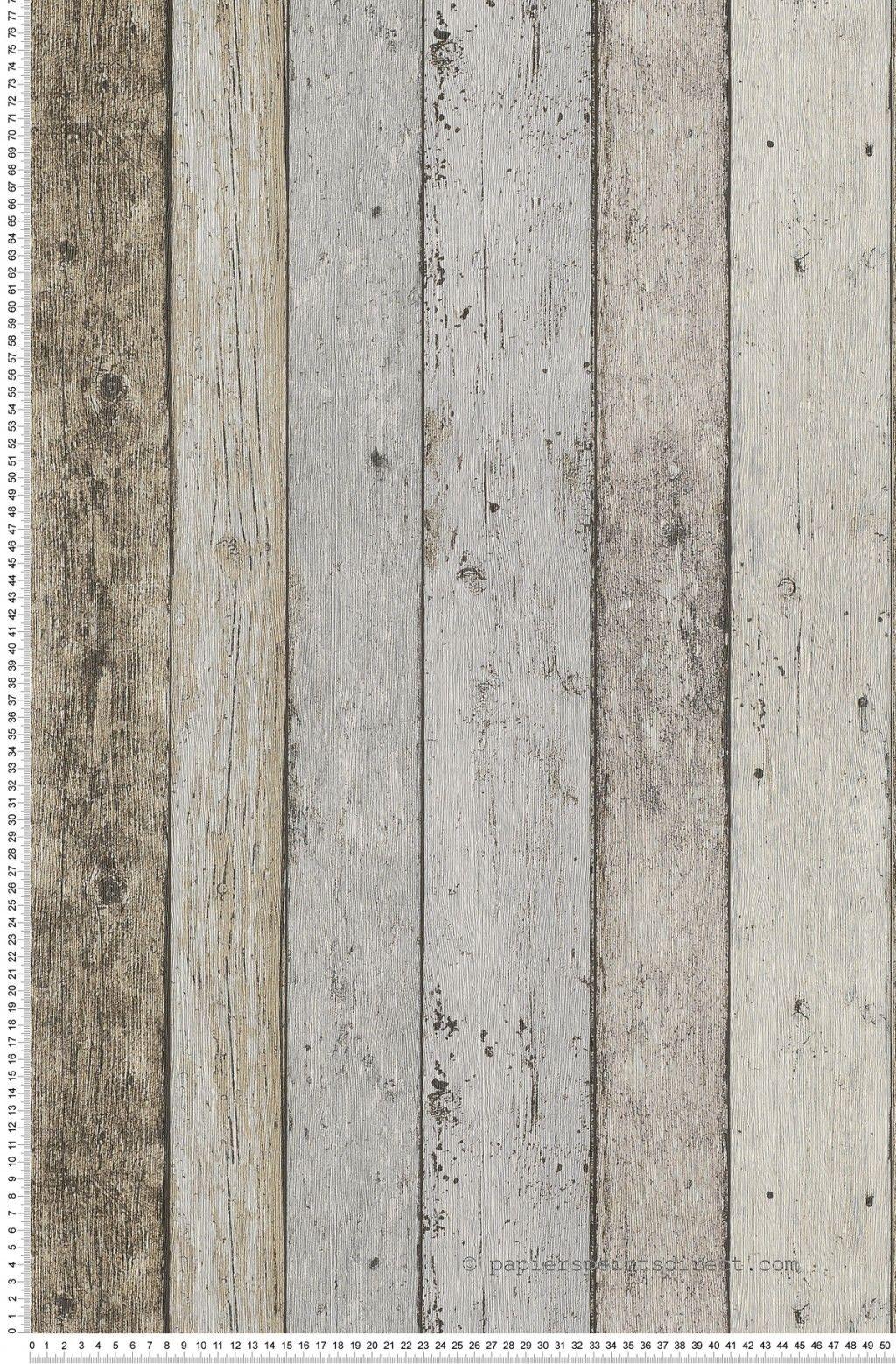 Planches marron gris bleu - Papier peint New England   Decoration ...