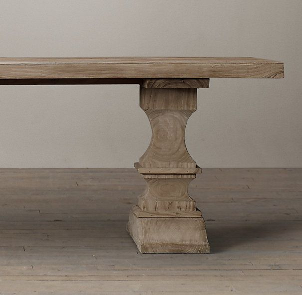 RHs Dumont Rectangular Dining TableDrawing Inspiration From Europe Our Elm Table Features Exquisite Hand Carved Supports