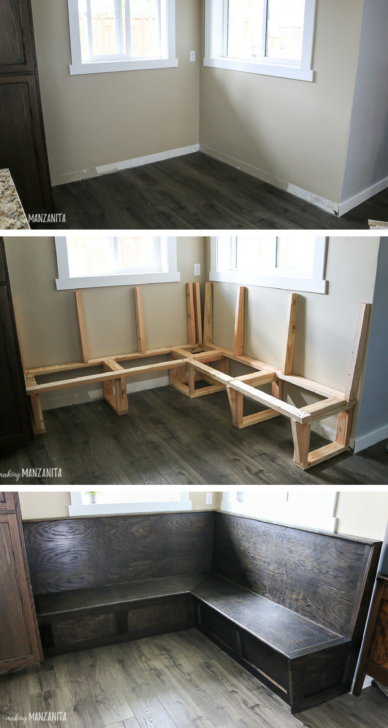 Ready to transform your boring breakfast nook  is part of  - You'll be shocked at how this boring breakfast nook turns out!! Learn how to build custom built in banquette bench seating to transform your kitchen