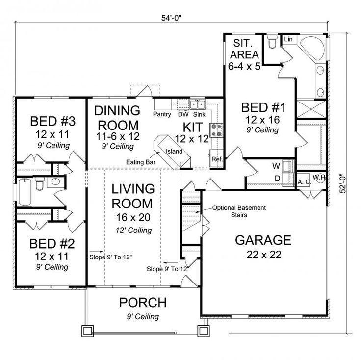 master bedroom with sitting area floor plan. #656150 - 3 Bedroom 2 Bath Craftsman With Master Sitting Area And Split Floor Plan A