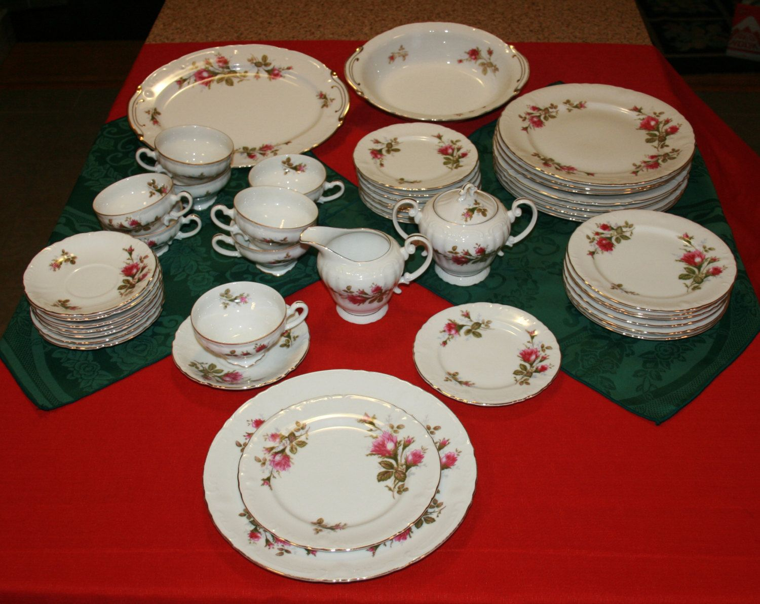 5 Piece Place Setting Floral Park China Moss Rose Pattern Japan 12 Available