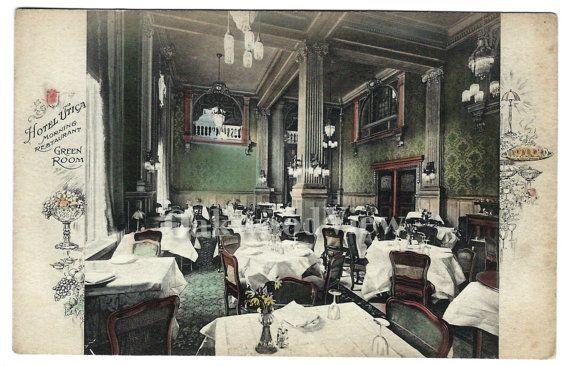 Hotel Utica Morning Restaurant Green Room Postcard Upstate New