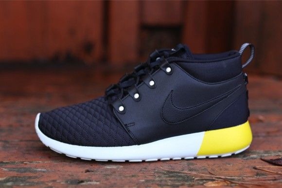 b61af82dc6d5 Nike Roshe Run Sneakerboot Leather - Black   Yellow   White ...