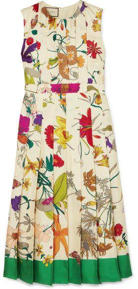 40edd485c Gucci Pleated Floral-print Silk Midi Dress - Ivory | Products | Silk ...