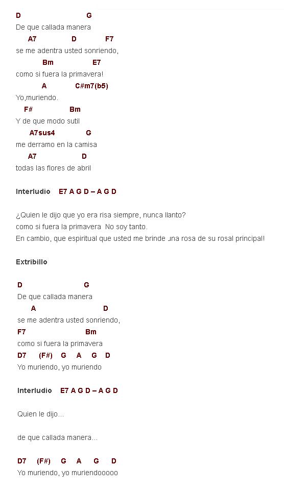Como Tocar De Que Callada Manera Pablo Milanes Letras Y Acordes Canciones De Ukelele Canciones De Guitarra