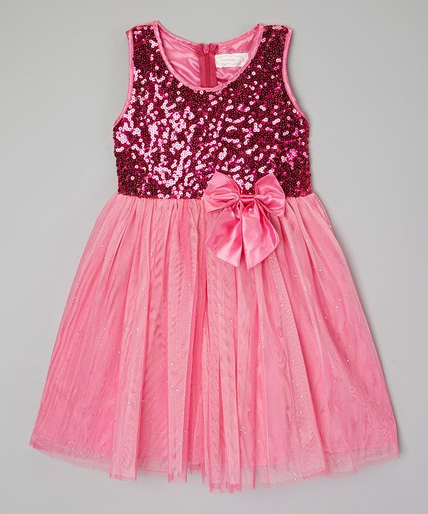 Hot Pink Shimmer Bow Dress - Toddler #zulily *cute