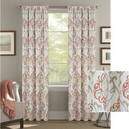 Walmart Coral And Sand Color Option Panel Curtains Damask Curtains Better Homes