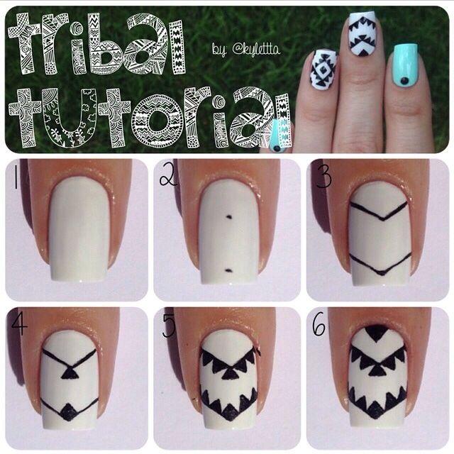Tribal nail art tutorial | Tırnak sanatı, Tırnak, Kuaförler