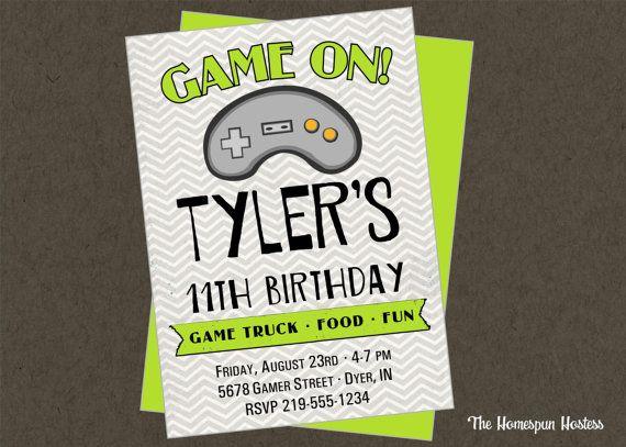 Game truck printable invite teen tween video gamer invitation gray game truck printable invite teen tween video gamer invitation gray black lime chevron stopboris Images