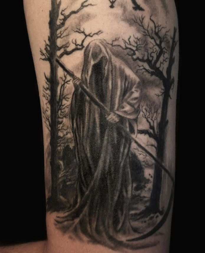 Horrifying Grim Reaper Tattoo - CreativeFan
