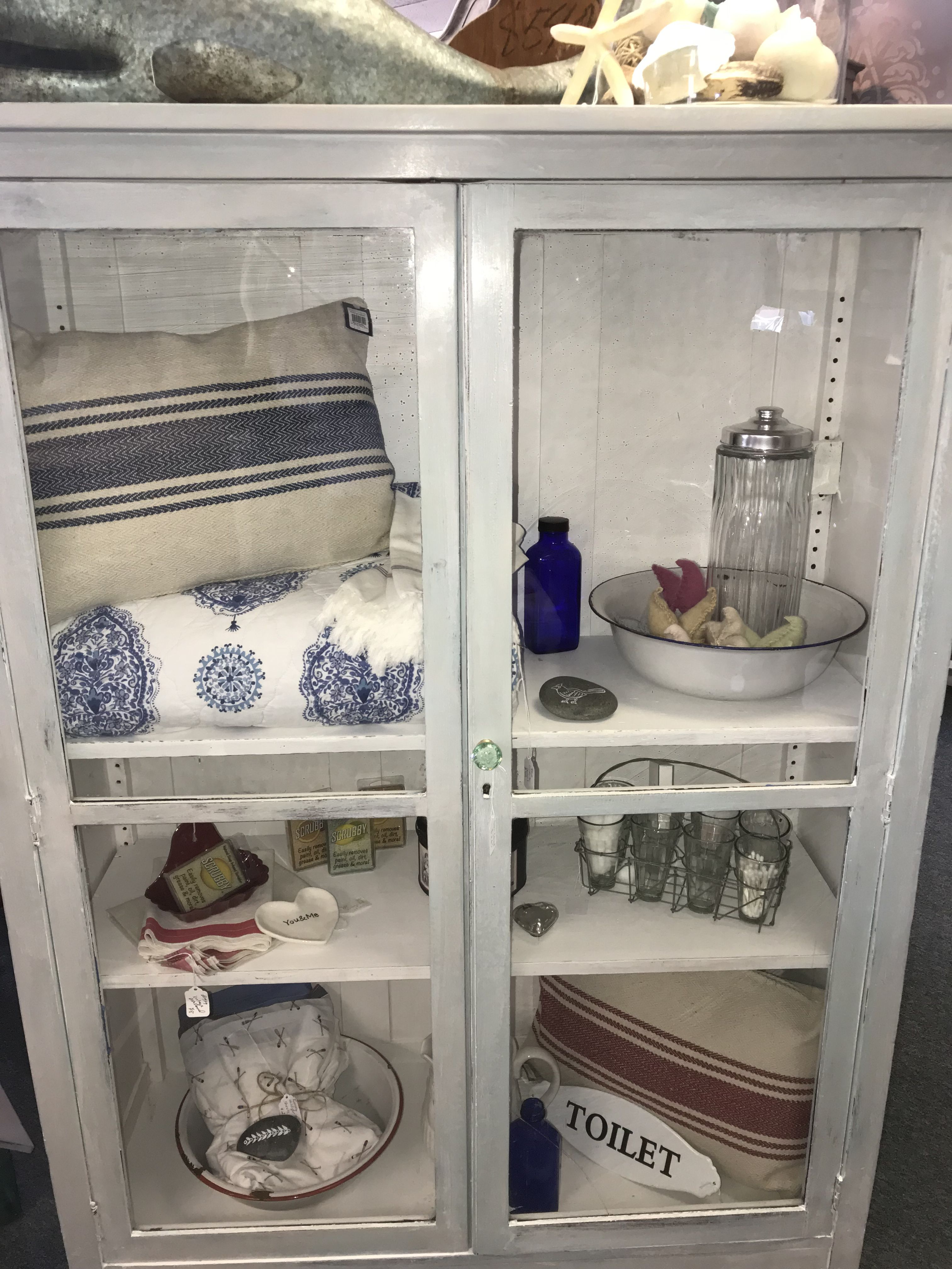 Vintage Glass Door Cabinet Chalkpaint With White Wax Provence