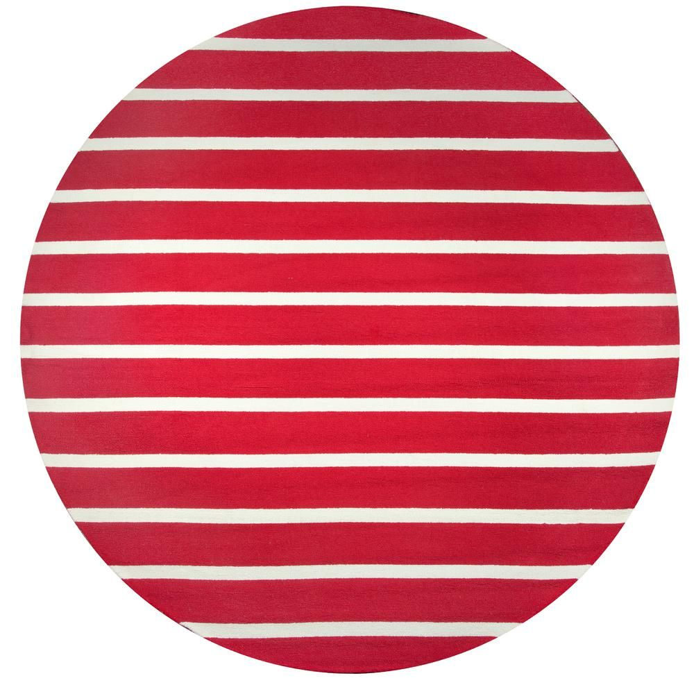 Azzura Hill Red Striped 8 Ft X Round Outdoor Area Rug