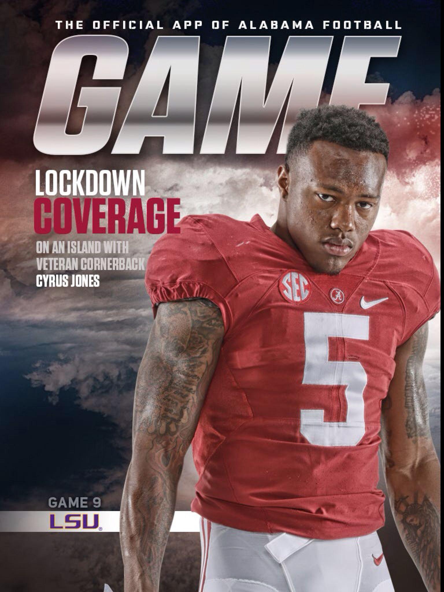 buy popular ca1b8 de6aa Cyrus Jones cover - Alabama GameDay program. Alabama vs LSU ...