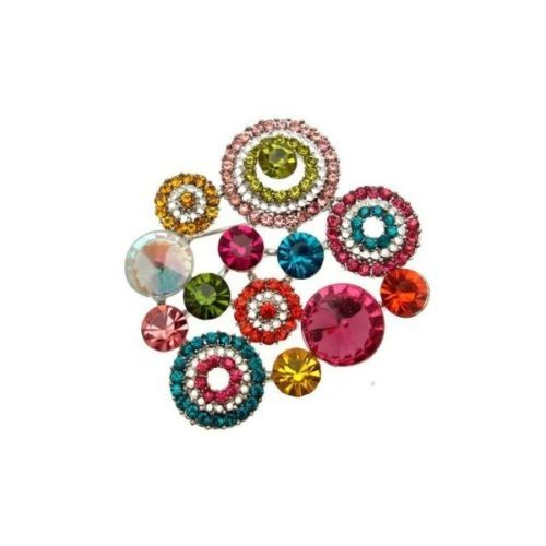 New - Modern Multi-Coloured Cluster Costume Brooch - Christmas Gift with Box
