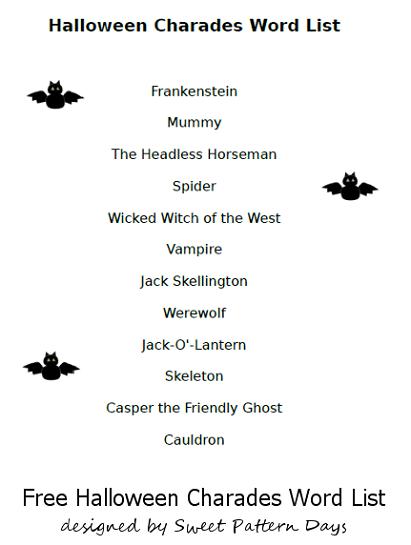 Halloween Charades Words List Header  Halloween  Pinterest