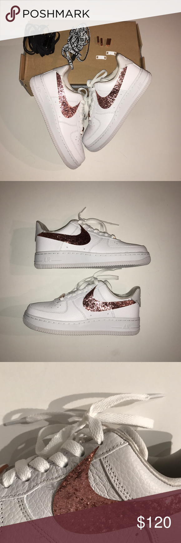 Nike Air Force 1 Rose Gold Glitter Sneakers Shoes New in box rare Nike Air  Force 1 Rose Gold Glitter Sneakers Shoes Comes with sneakers 6299521d1c