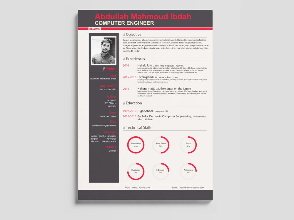 Free Modern Engineer Resume Template In PSD Format