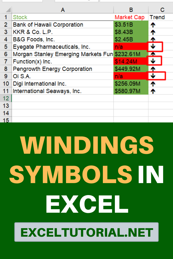 Wingdings Is A Symbol Font That Is Mainly Get Used For Fun But What If You Use Those Cool Symbols In Excel For A Good Purpose Cool Symbols Symbols Stock Market