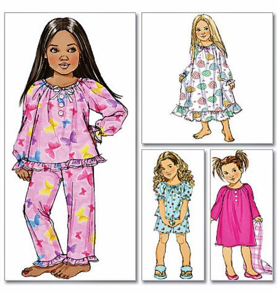 Little Girls Pajamas Pattern Little Girls Nightgown by blue510, $4.40
