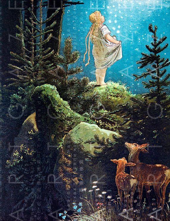 LITTLE GIRL Under A Starry Blue SKY. . Vintage Fairy Tale Illustration. Digital Fairy Download. Vintage Fairy Print. -  Schattig meisje is in het bos onder de mooiste sterrenhemel en twee zoete herten zijn op zoek naar  - #1998tattoo #Blue #candletattoo #daffodiltattoo #Digital #Download #fairy #Girl #illustration #maketattoo #memorabletattoos #misunderstoodtattoo #Print #SKY #Starry #Tale #tattoostattoo #vintage