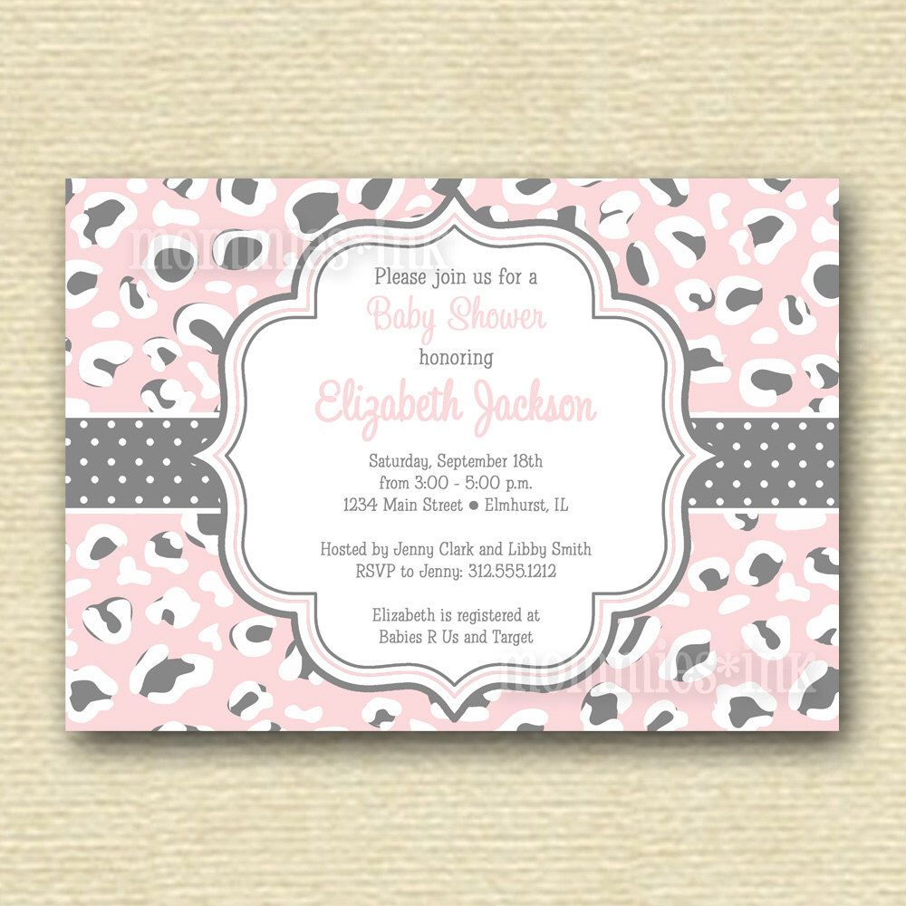 Light Pink Leopard Print Baby Shower Invitation - Printable ...