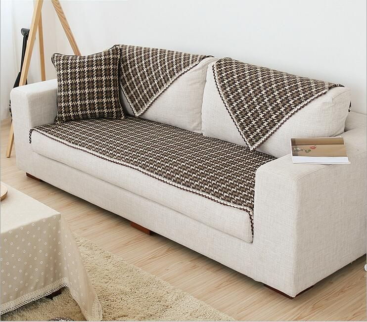 85cm Width Cotton Coffee Plaid Sofa Towel Sectinal Sofa Cover Anti Slip  Single Seat
