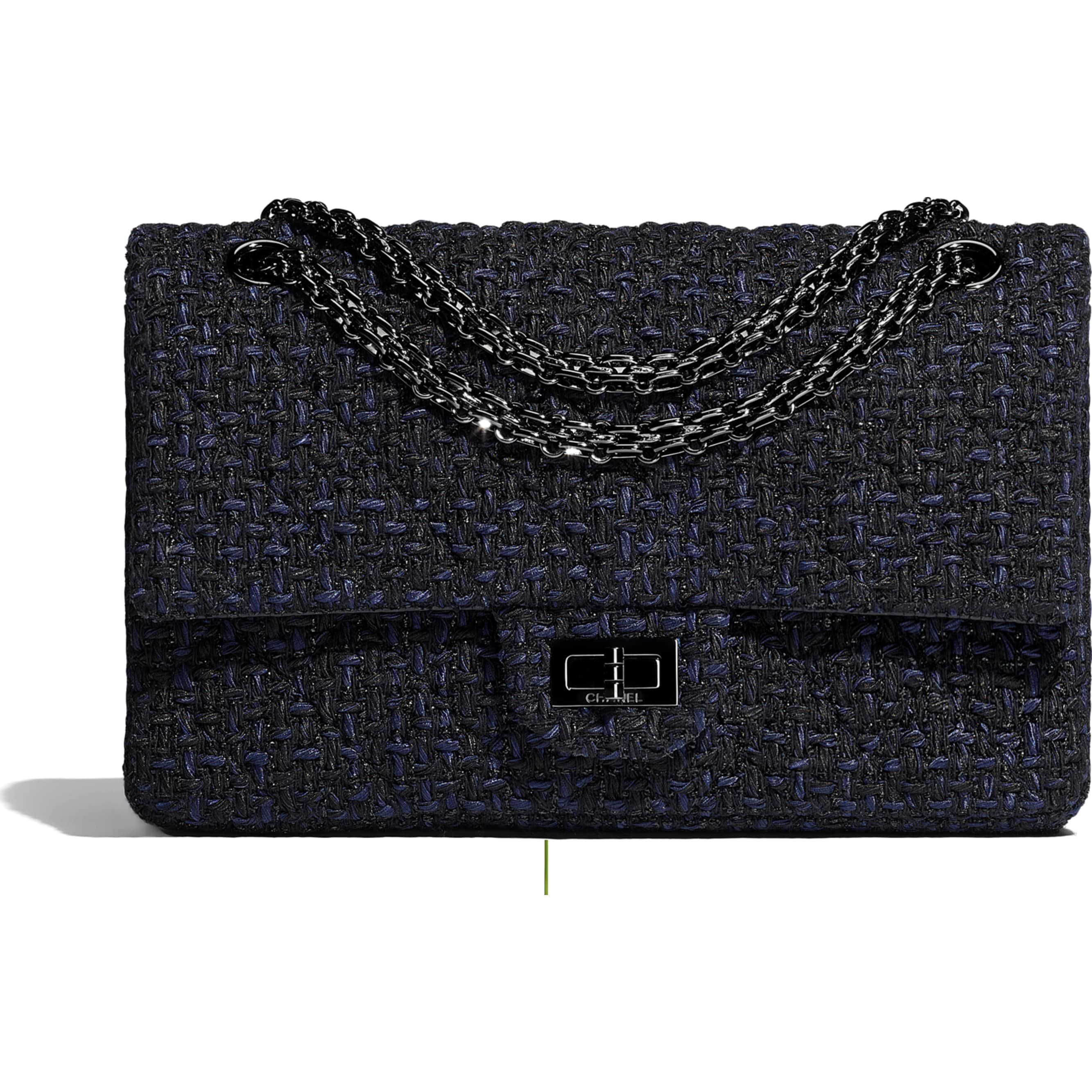 0074731413e3 Tweed   Black Metal Black   Navy Blue 2.55 Handbag