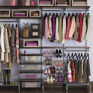 Walnut And Platinum Elfa Decor Freestanding Closet   Contemporary   Closet  Organizers   By The Container Store
