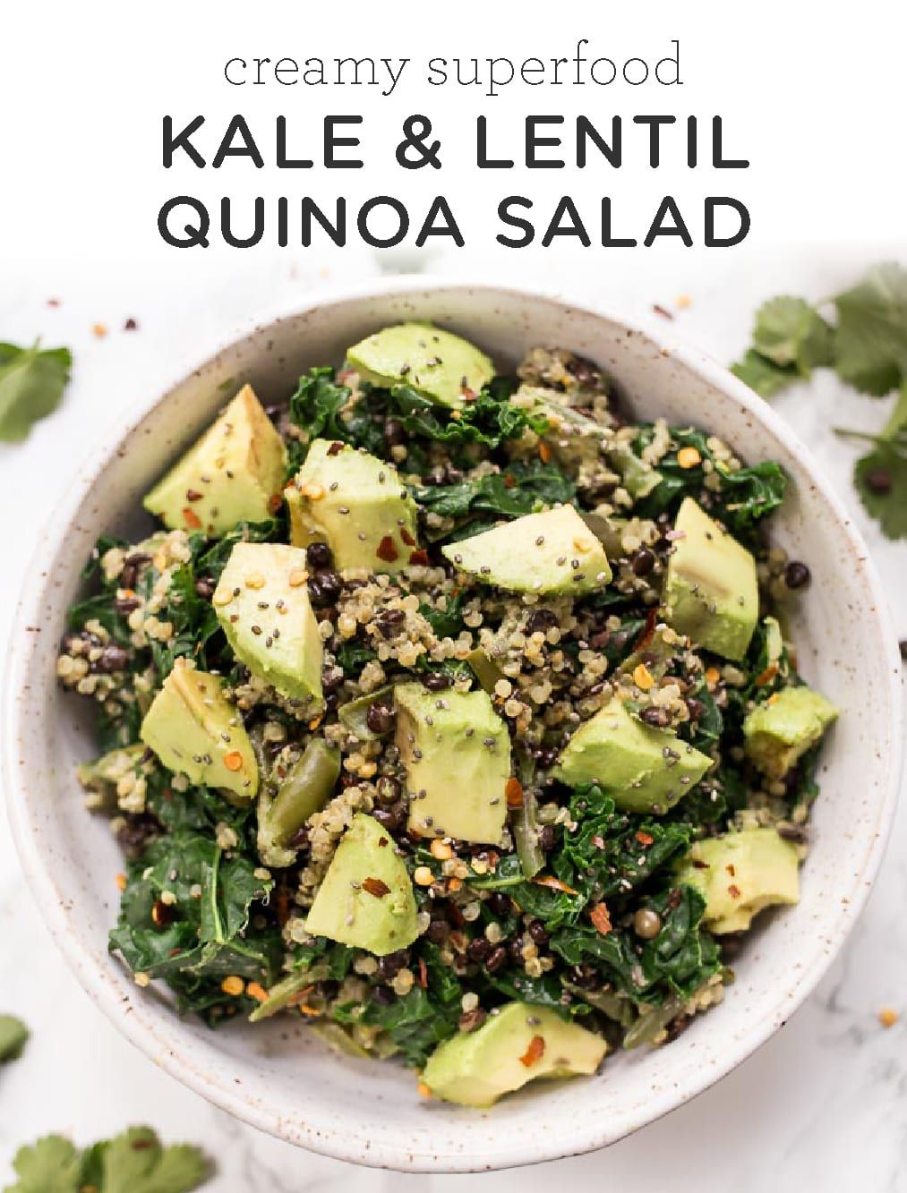 The best Superfood Lentil Quinoa Salad! Made with kale and green beans, then tossed in a vegan crea