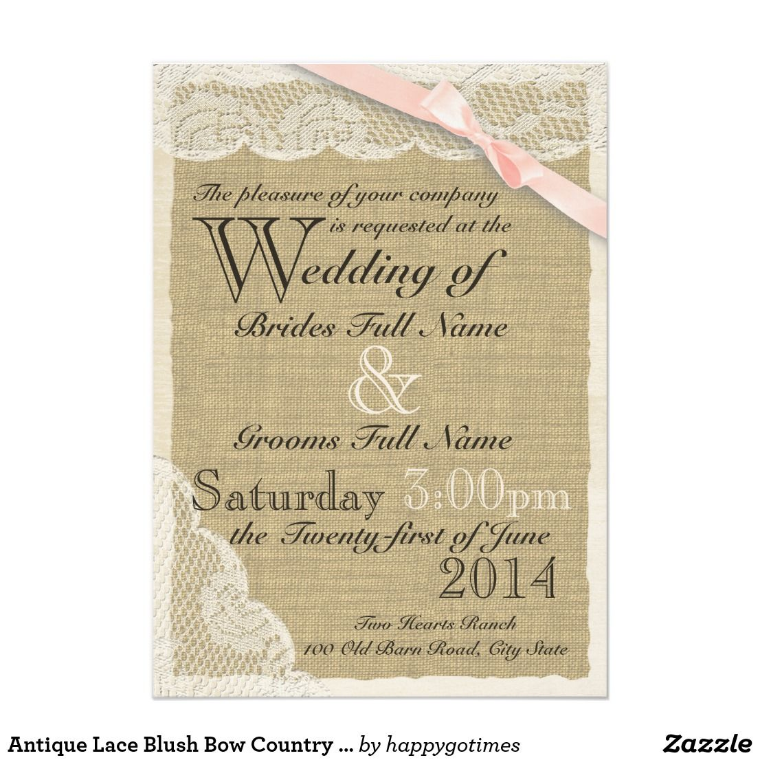 Antique lace blush bow country wedding card country wedding