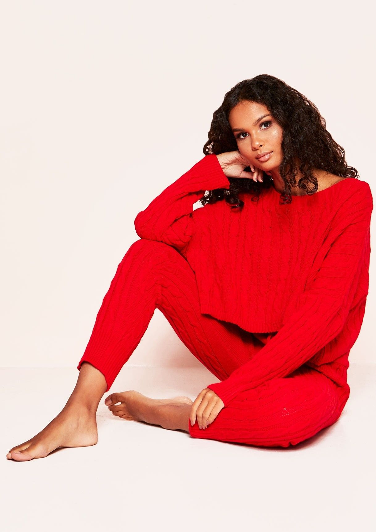 7fe83b62b356 Missyempire - Rene Red Cable Knit Cropped Loungewear Set