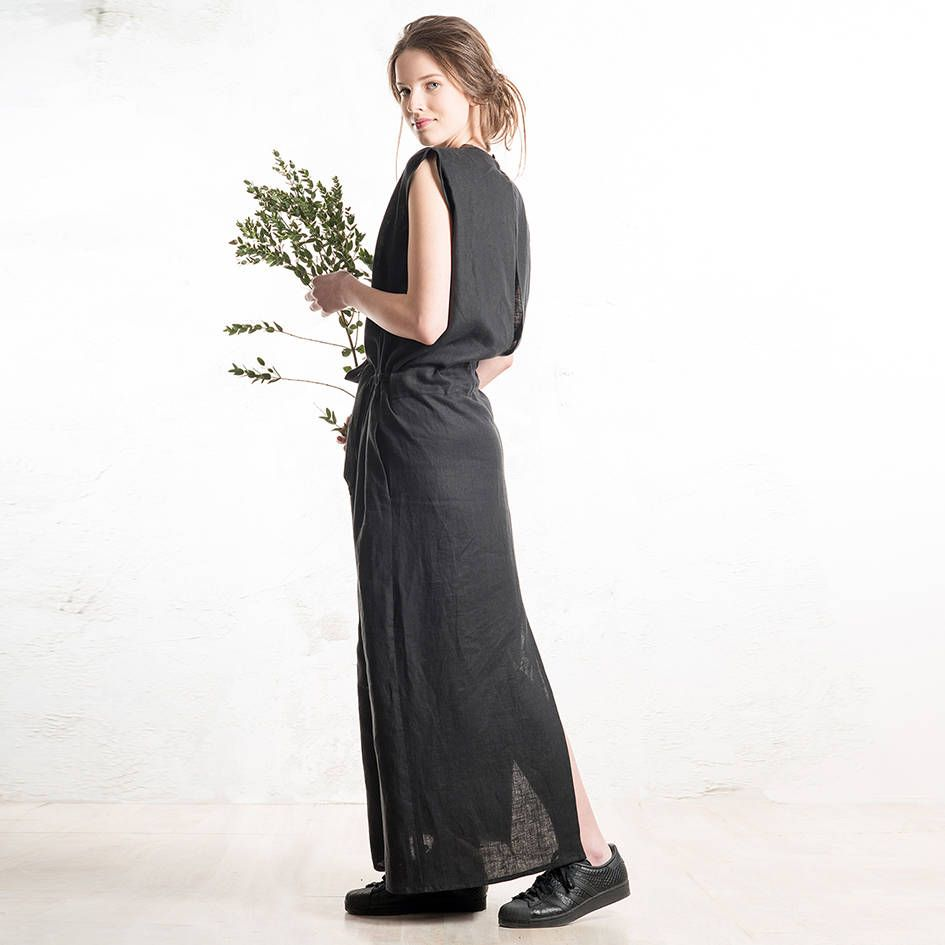 Long black dress linen maxi dress with pockets linen clothing