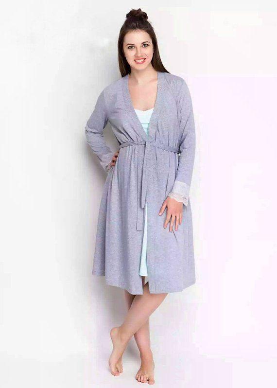 a50a62c2d55 Grey hospital robe & nightie Pregnancy gown Nursing gown Grey breastfeeding  gown Birthing gown Mater