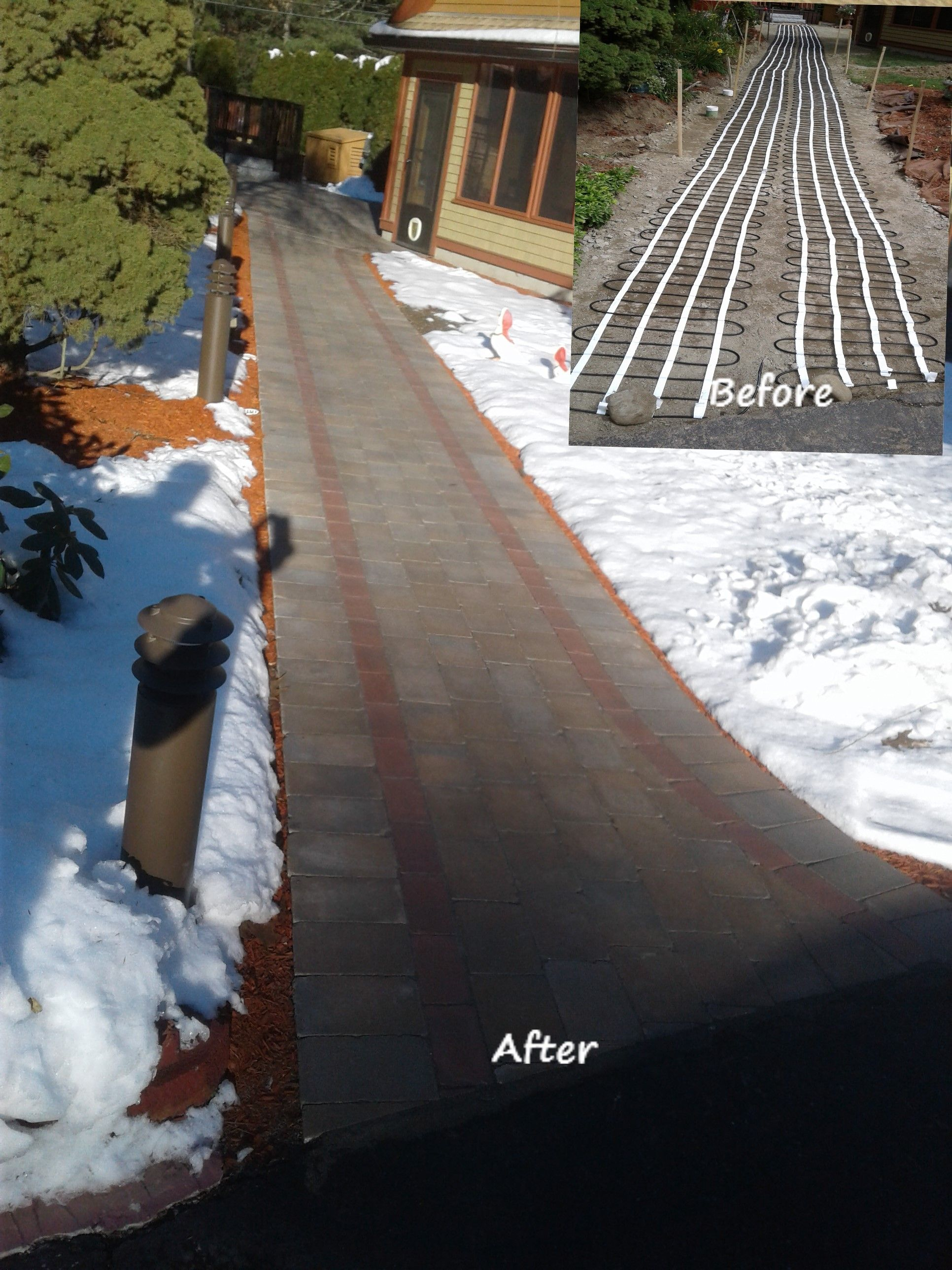 Heating element was installed under this paver walkway