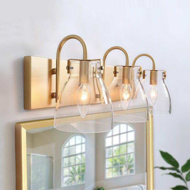 Everly Quinn Quach 3 Light Vanity Light Wayfair Modern Vanity Lighting Brass Bathroom Lighting Light Fixtures Bathroom Vanity