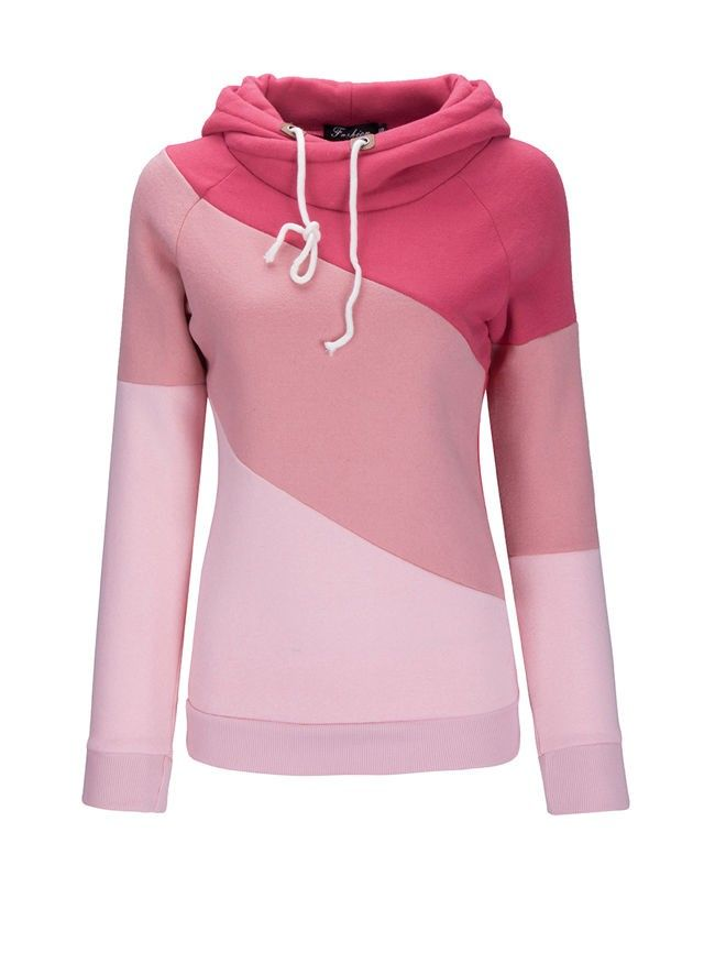 fdd4fa69e5cf6 Drawstring Color Block Striped Hoodie. Drawstring Color Block Striped  Hoodie Pink Hoodies, Pink Tops, Hooded Sweatshirts ...