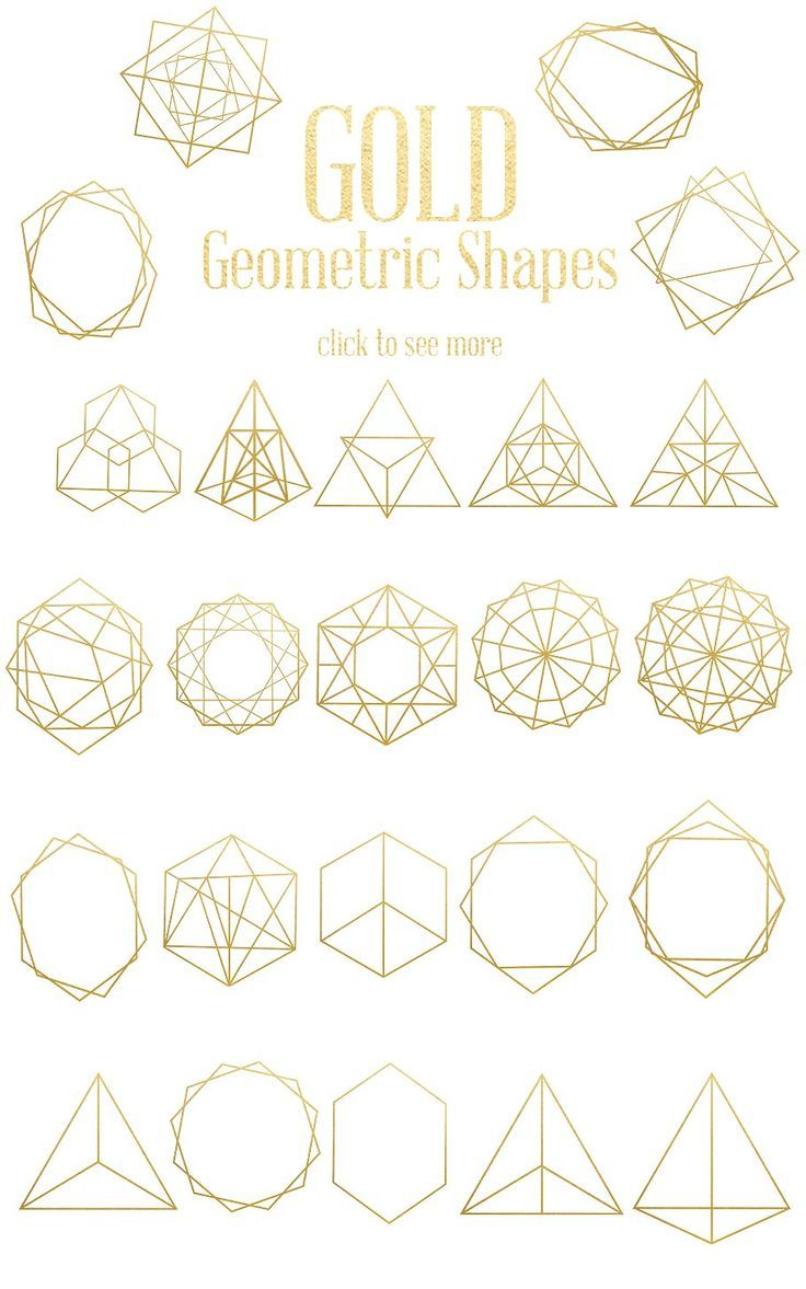 Gold Geometric Shapes by Dream in Watercolor on ...